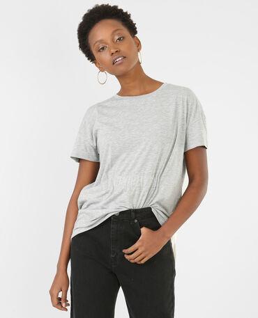T-shirt à nouer gris chiné