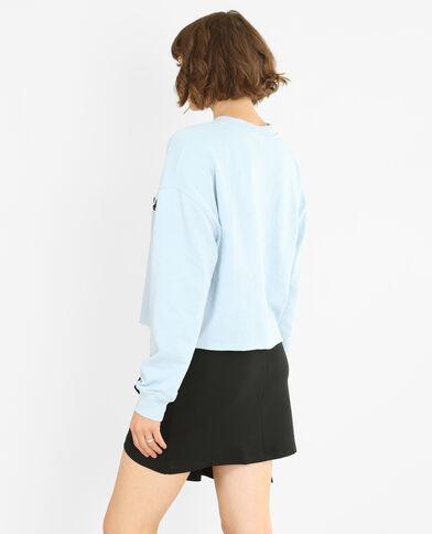 Kurzes Message-Sweatshirt Himmelblau