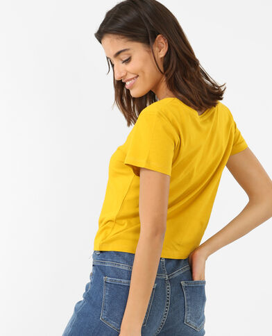 Crop top estampado amarillo
