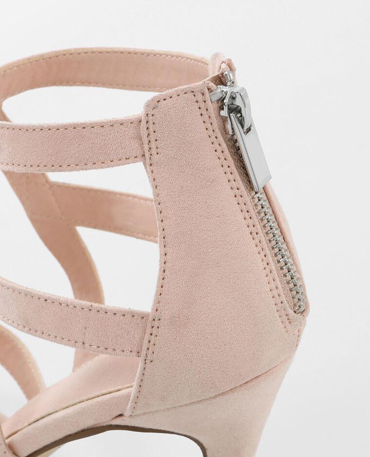 sandaletten mit absatz und ajour muster rosa. Black Bedroom Furniture Sets. Home Design Ideas
