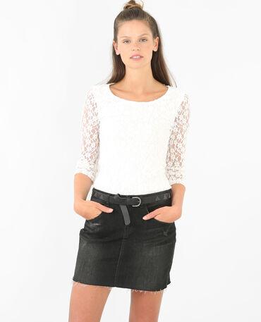 Spitzen-T-Shirt Altweiß