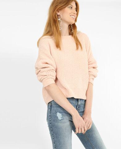 Pullover aus Chenillegarn Rosa