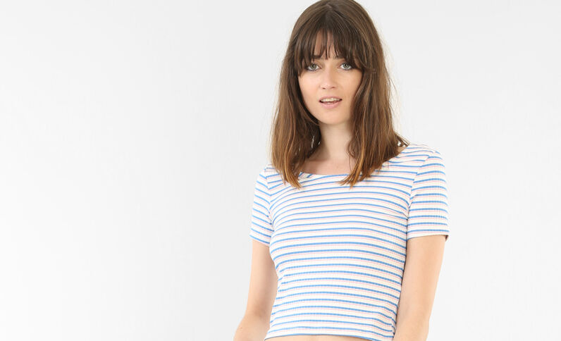 Cropped top manches courtes blanc