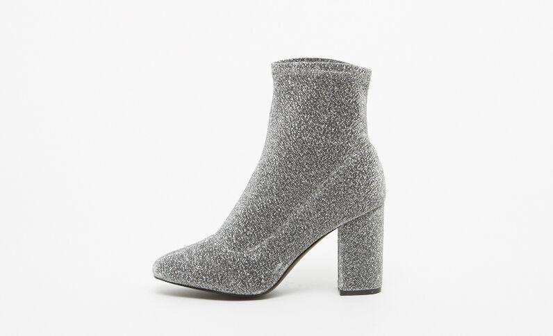 Boots con i tacchi grigio paillettato