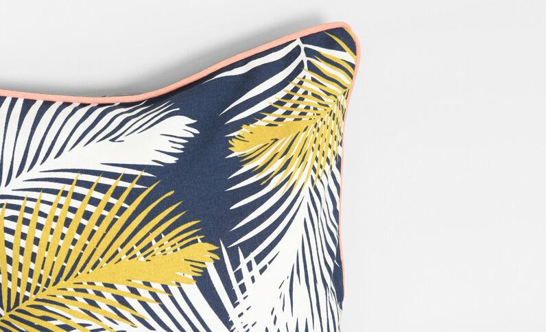 Federa per cuscino stampa foglie blu