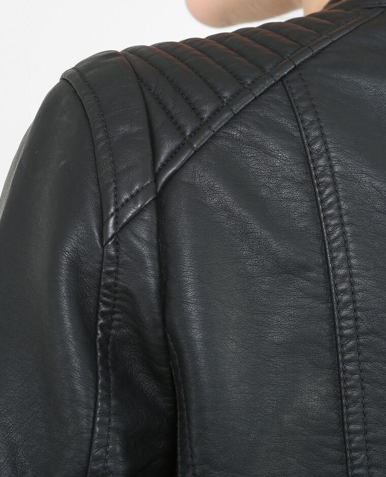 Chaqueta de piel sintética negro