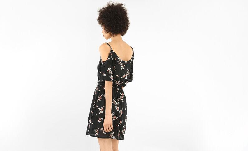 Soepele jurk met peekaboo mouwen zwart