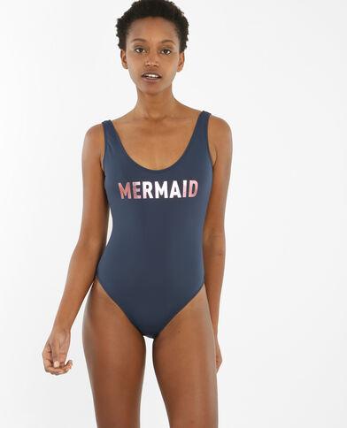 Bañador con mensaje azul