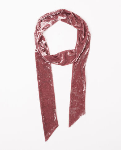 Foulard cravate velours vieux rose