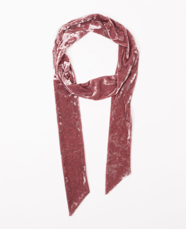 Foulard cravate velours rose pâle