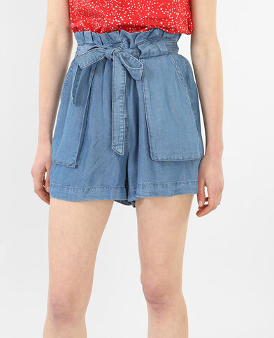 Short morbido a vita alta blu denim