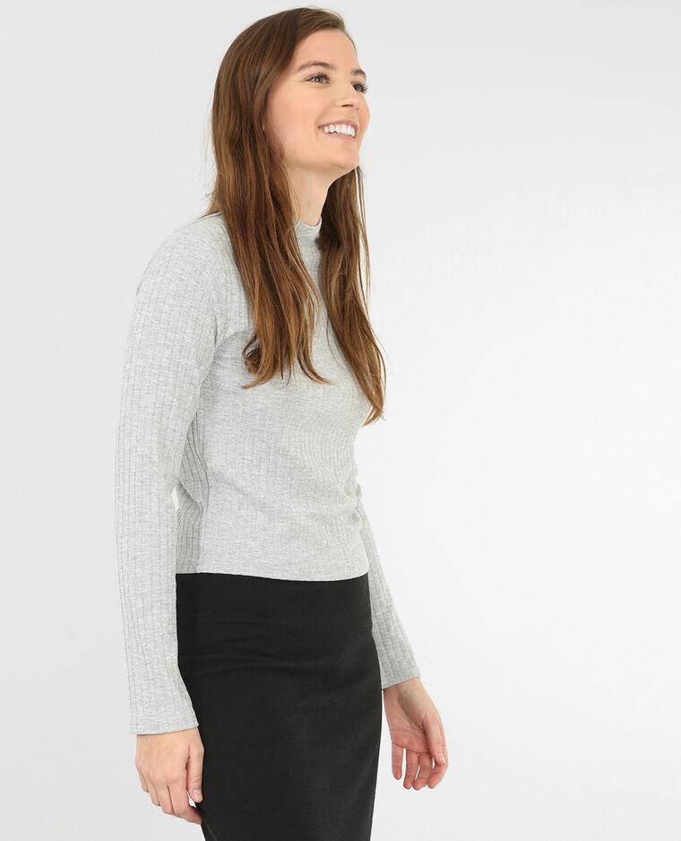cropped t shirt mit stehkragen grau meliert 403384830a08 pimkie. Black Bedroom Furniture Sets. Home Design Ideas