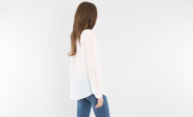 Blusa con zip bianco sporco