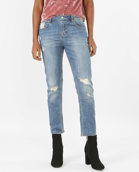 Jeans relax de talle alto destroy azul vaquero