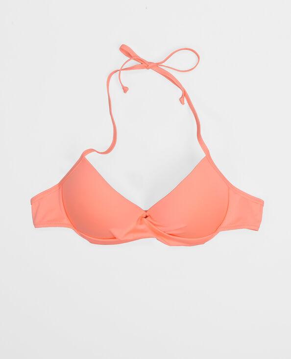 Haut de maillot de bain rose fluo corail