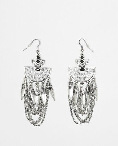 Boucles d'oreilles pendantes gris argenté