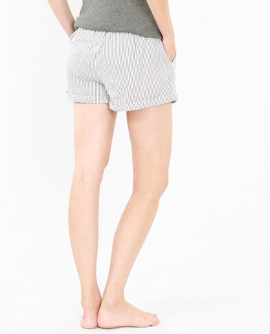 Gestreifte Homewear-Shorts Weiß