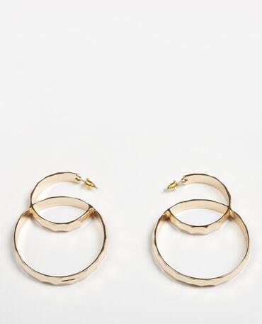 Boucles d'oreilles double anneaux doré