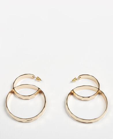 Oorbellen met twee ringen goudkleurig