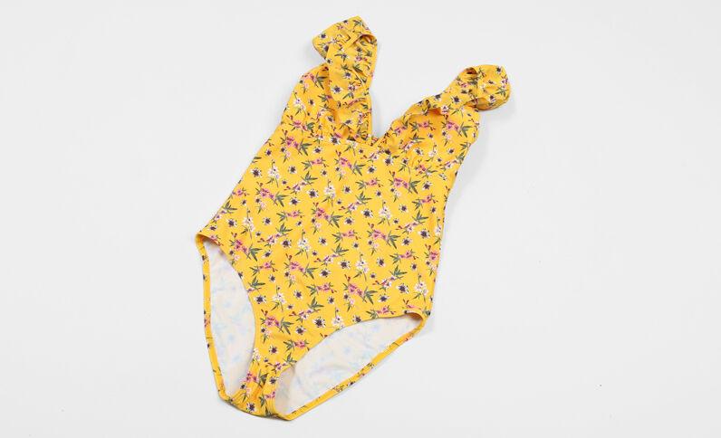 Traje de baño de una pieza con volantes amarillo
