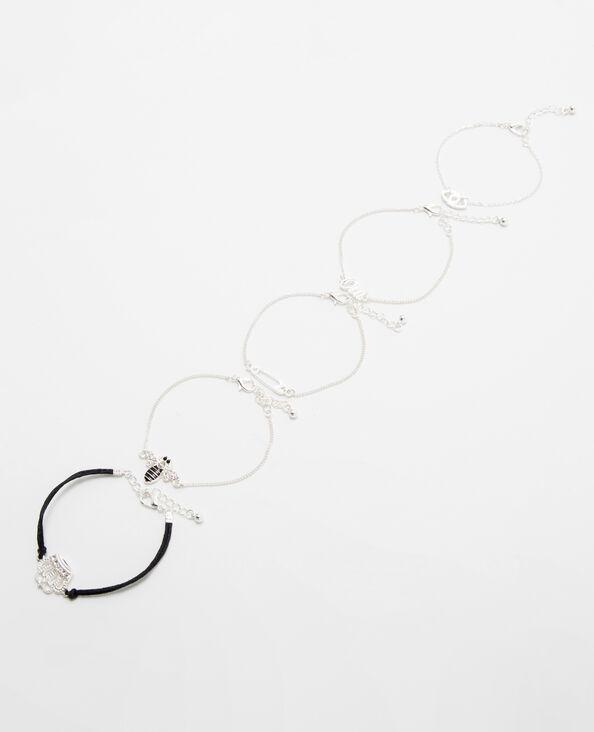 Set van 5 originele armbanden zilvergrijs