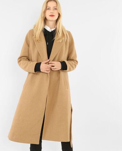 Cappotto lungo in panno di lana caramello