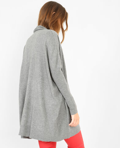 Lange blazer met ribbels grijs