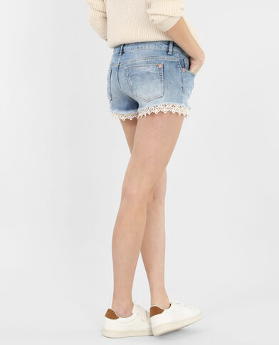 Mini short denim et dentelle bleu denim