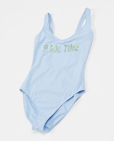 Badeanzug mit Schriftzug Himmelblau