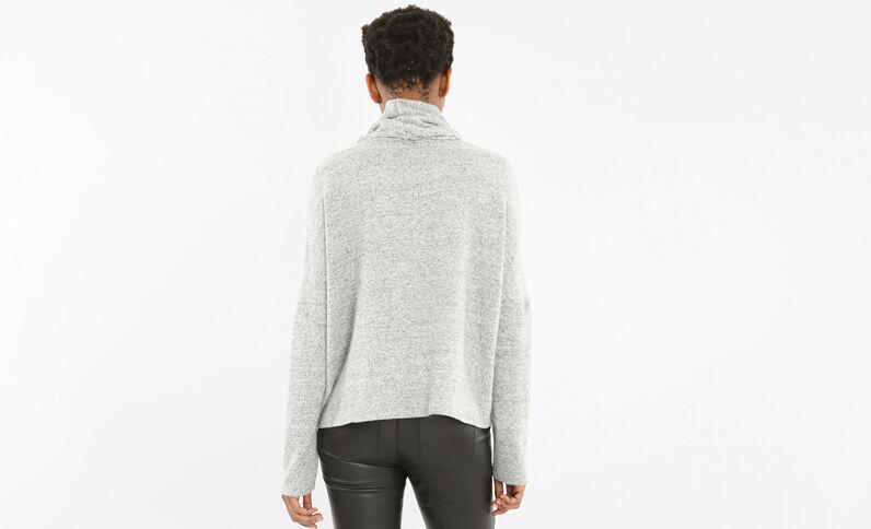 Pullover mit Stehkragen Grau meliert