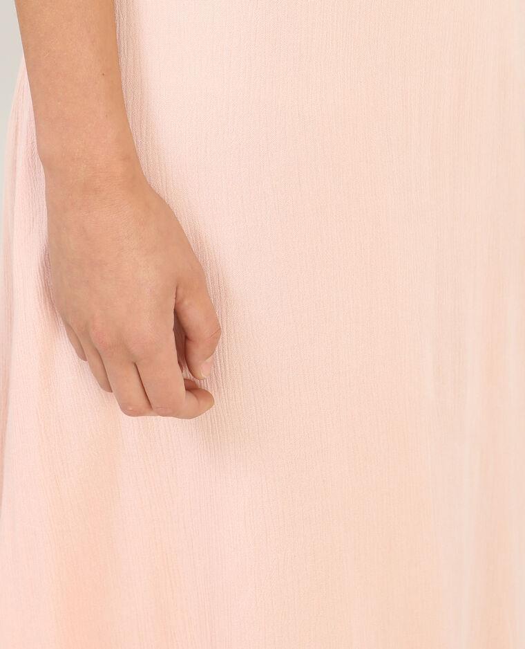 Langes Kleid mit Peekaboo-Ärmeln Rosa