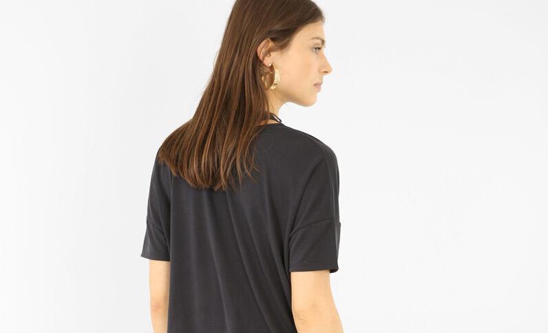 T-Shirt mit Chokerkragen mit Ösen Schwarz