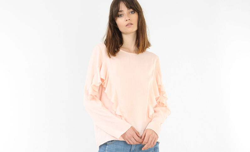Blouse à volants rose
