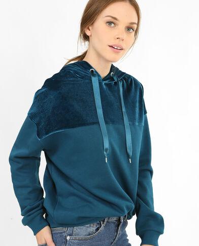 Sweatshirt Bi-Material Türkisblau