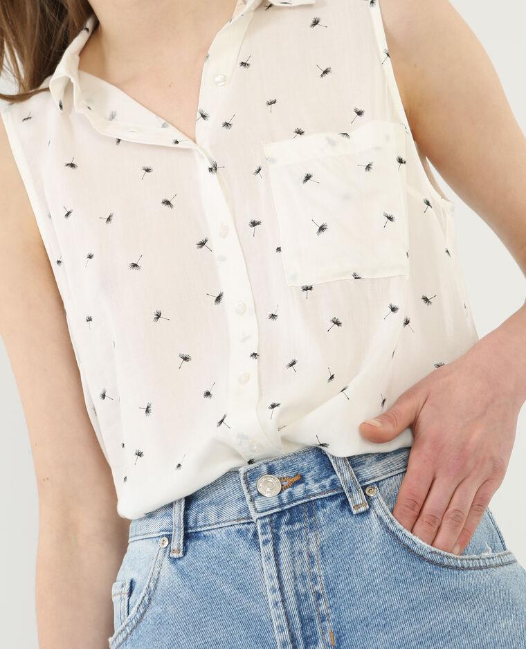 Ärmellose Bluse mit Print Altweiß