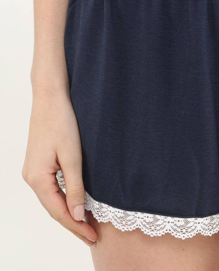Mono corto homewear con encaje azul