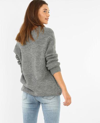 Trui van warm tricot gemêleerd grijs
