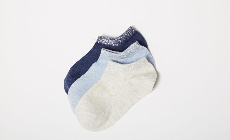 Lot de 3 paires chaussettes basses bleu