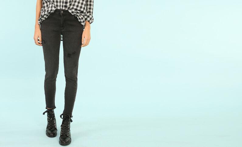 Abgeschnittene Skinny-Jeans Schwarz