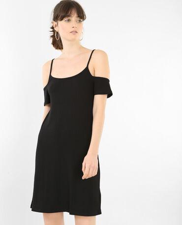 Kleid mit Peekaboo-Ärmeln Schwarz