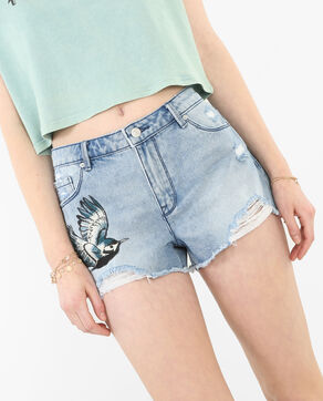 Short en jean destroy brodé bleu denim