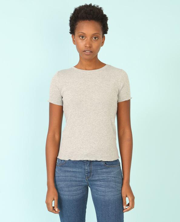 T-shirt con finiture ondulate grigio chiné