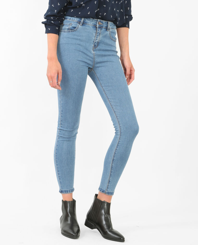 Jeggings 7/8 vita alta blu denim
