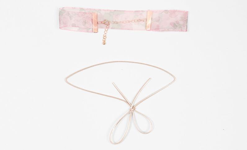 Lot de 2 chokers rose fuchsia