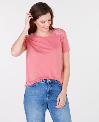 T-shirt basique dentelle rose