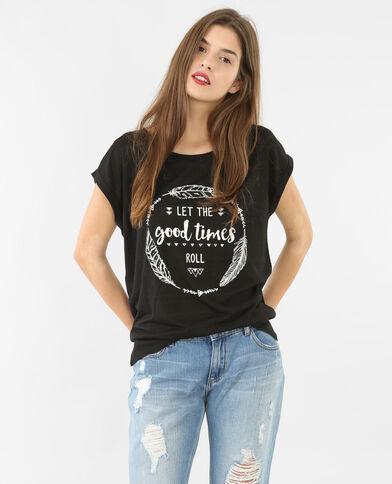 T-Shirt mit Schriftzug Schwarz