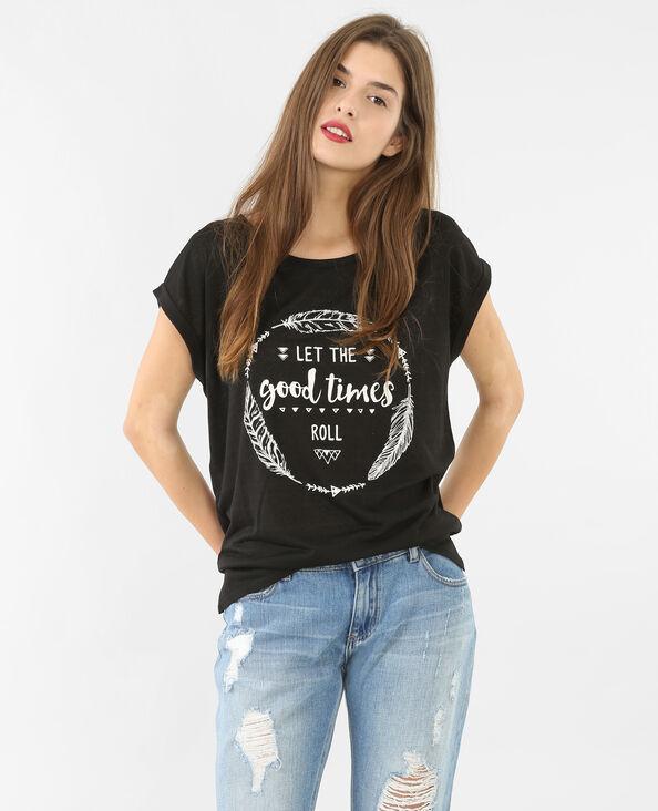T-shirt avec message noir