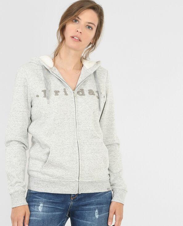 Gefüttertes Sweatshirt mit Reißverschluss Grau