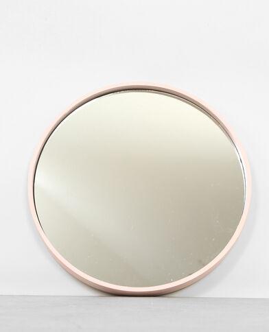 Grand miroir rond rose