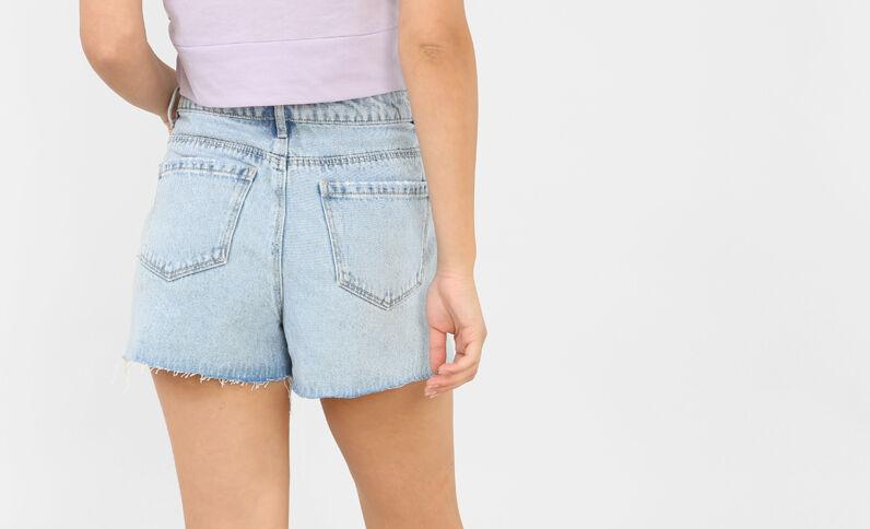 Jeansshorts mit Stickereien Blau